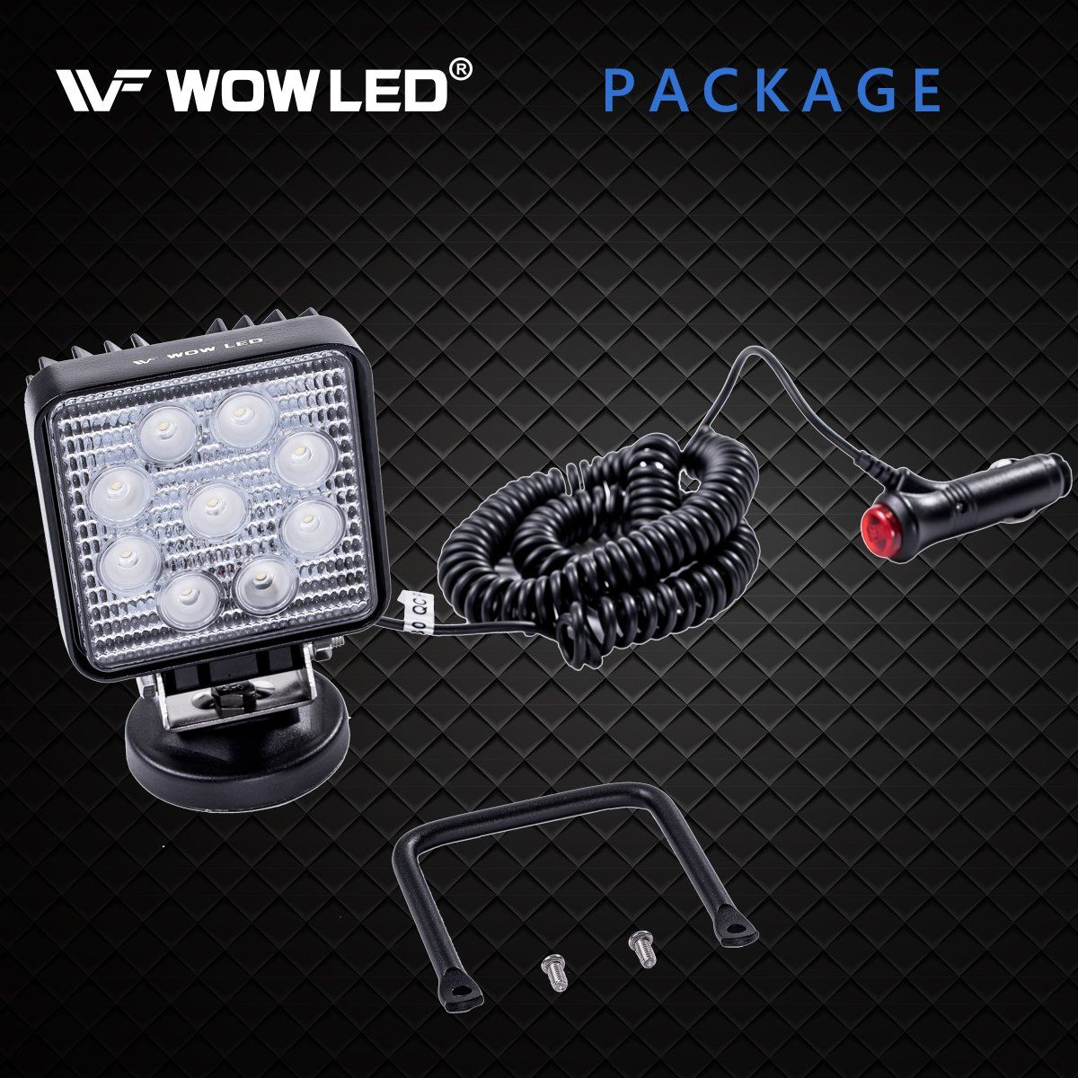 Boat LED Work Light Magnet 27W Portable Spot Flood Beam Lamp for Truck Tractor Trailer WOWLED LED Light Bar with Magnetic Base Off-Road Engineering Vehicle Maintenance Travel Car Camping