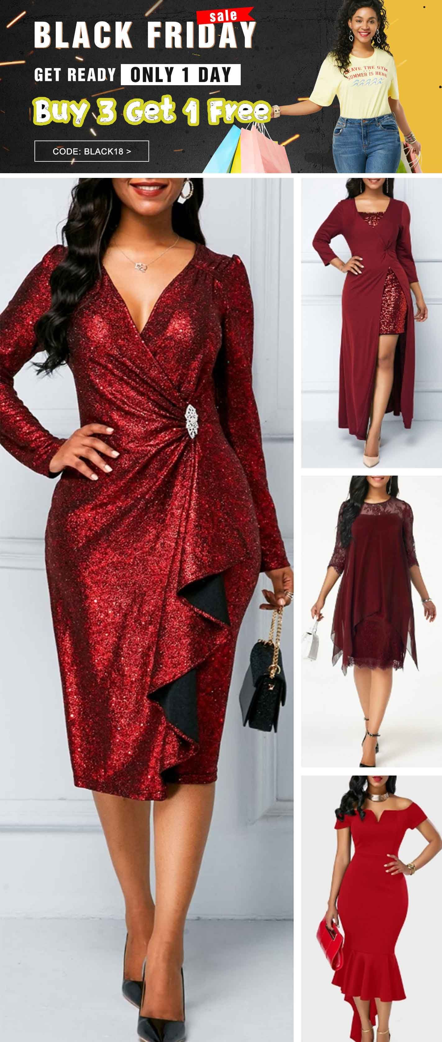 1db0bc31ce Wine Red Zipper Back Sequin Dress. Buy 3 get 1 free only 1 day, Free ...