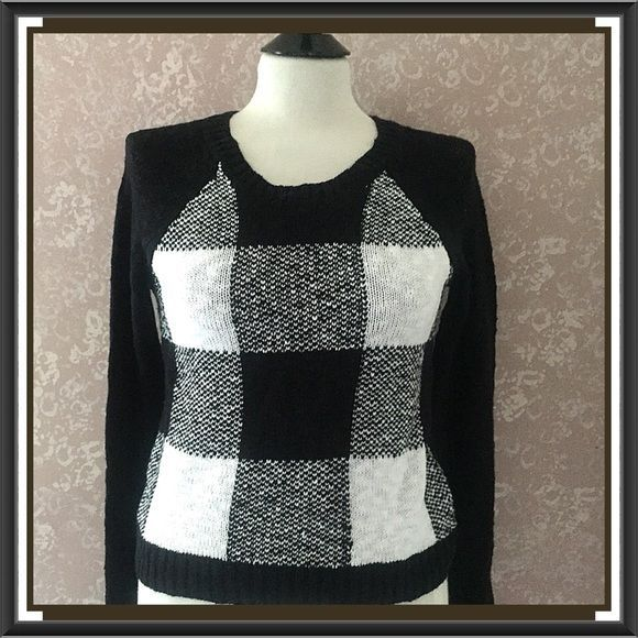 Checkered Pullover Sweater Colorblock Top Black White Womens Small ...