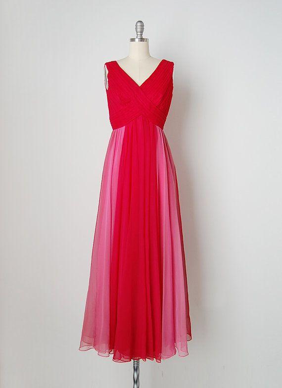 vintage 1960s dress / 60s chiffon dress / fuchsia by cutxpaste