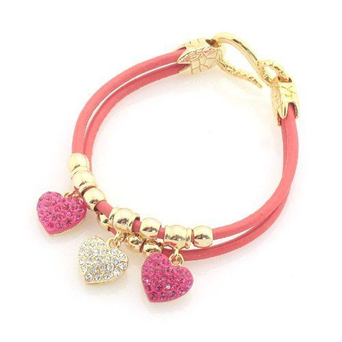 "Rhinestone Heart Charm Bracelet; 8""L; Gold Metal Hardware; Fuchsia Cord Chain; Heart Charms With Fuchsia And Clear Rhinestones; Hook Latch Closure; Eileen's Collection. $28.99. Save 52%!"