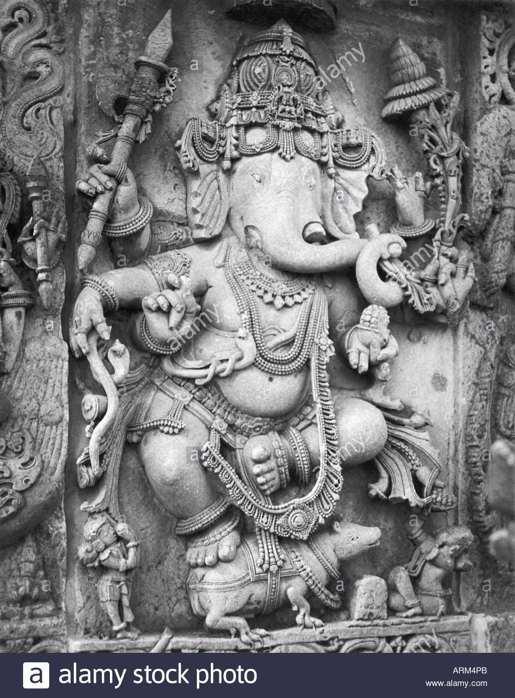 Stone sculpture of lord ganesha at helebid temple mysore karnataka