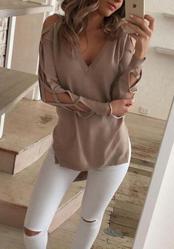 824e3fa7dda0 Khaki Plain Cut Out Irregular V-neck Long Sleeve T-Shirt