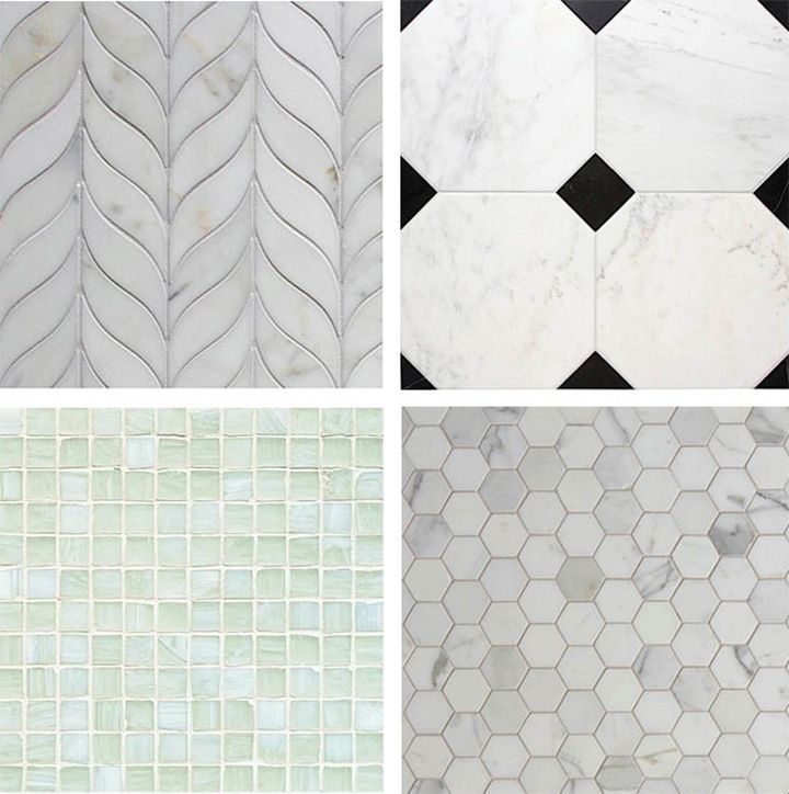 Curved Stone Mosaic Tile Black And White Hexagonal Small Marble