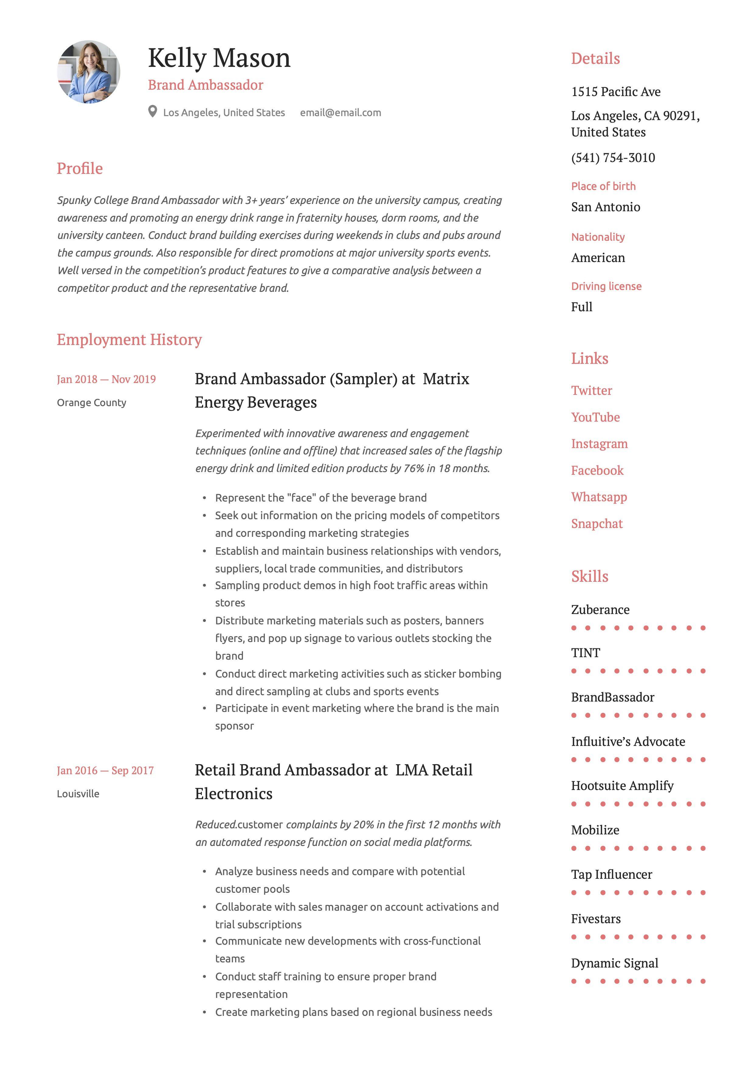 Pin on 12 Brand Ambassador Resume Templates