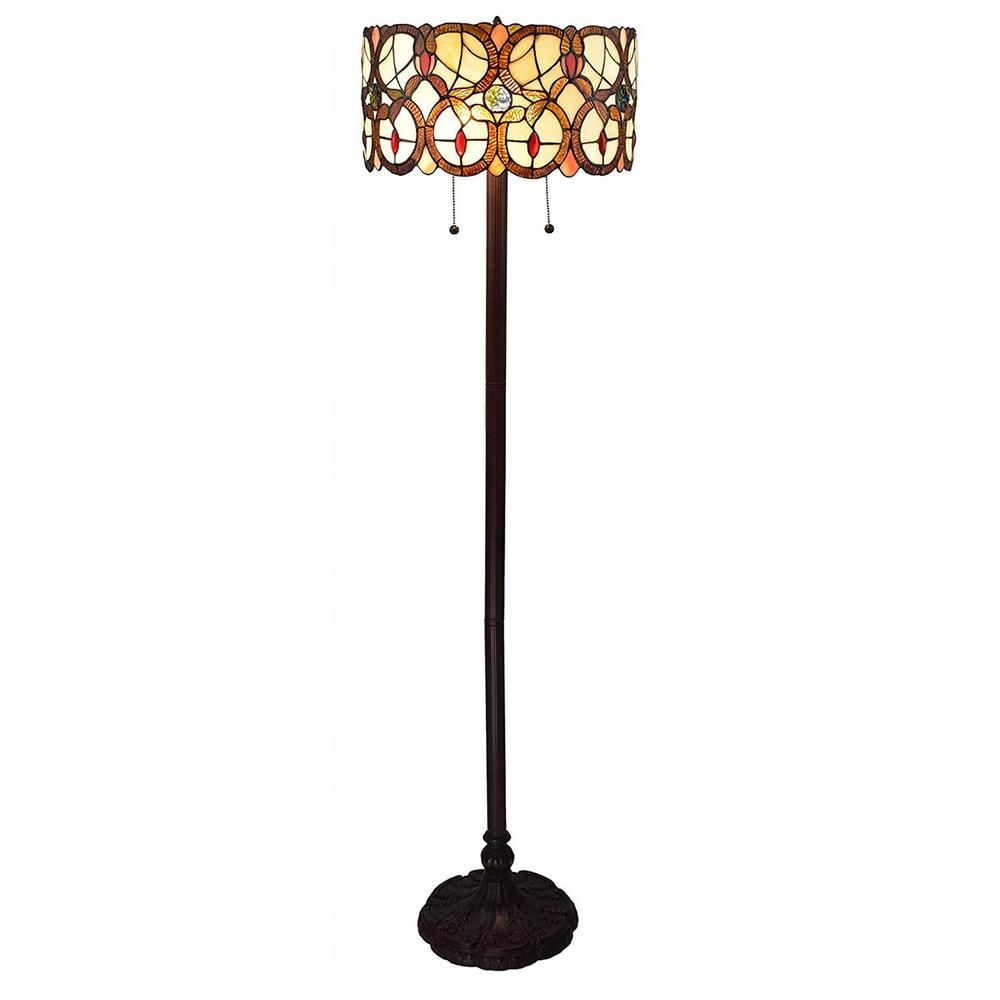 Amora Lighting 63 In Multi Colored Tiffany Style Double Light