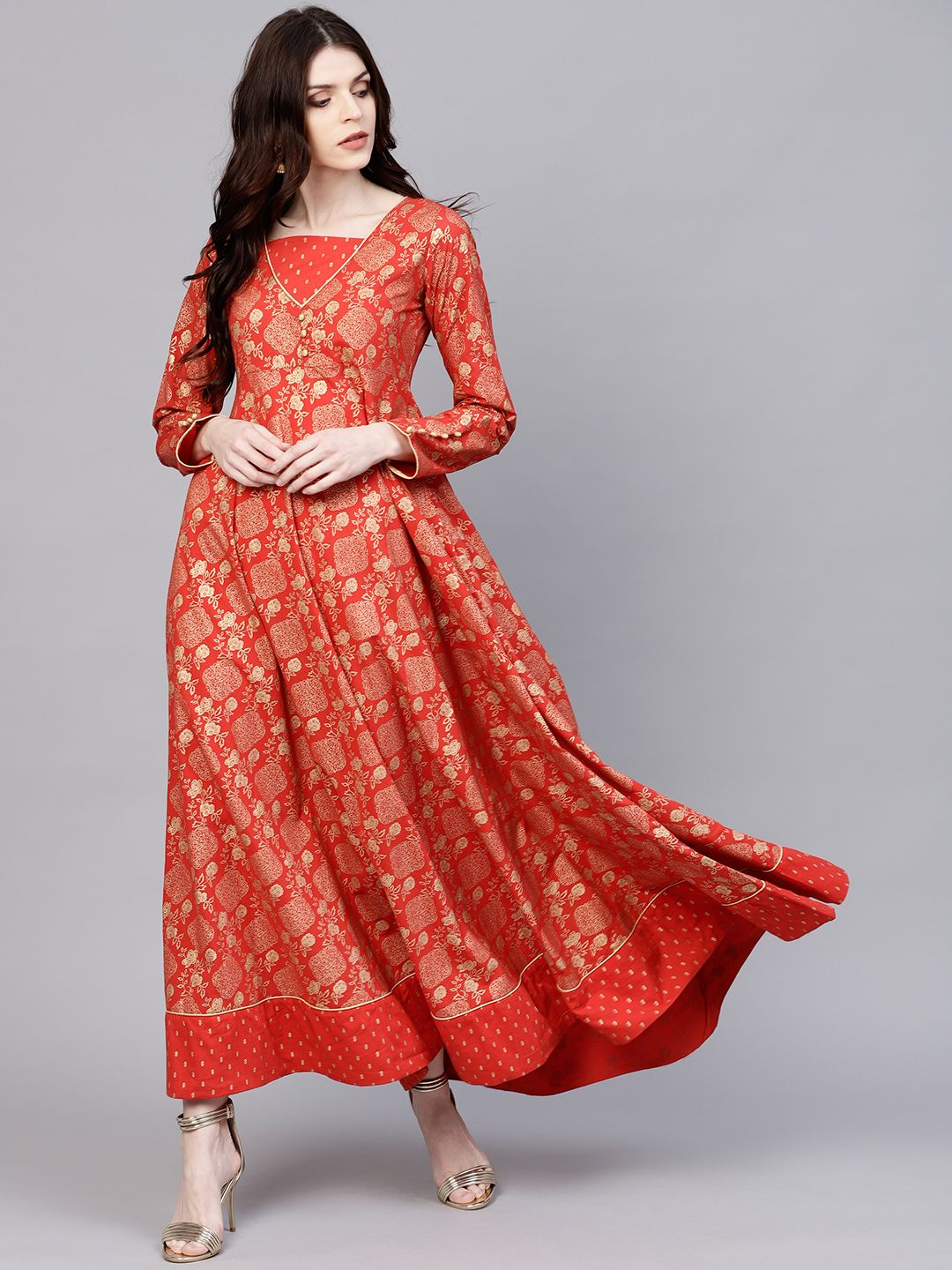 3063bfdc3f6 I love this AKS Women Rust Red   Golden Printed Maxi Dress - Dresses for  Women 7584990