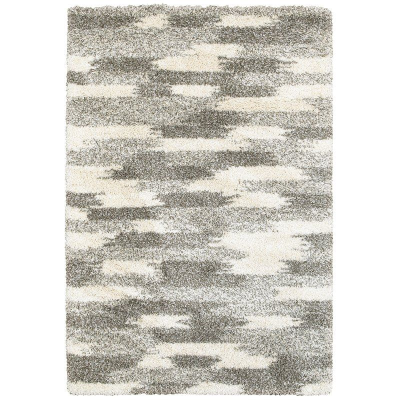 ab61d4885d5 8 x 11 Large Geometric Shag Gray and Ivory Area Rug - Henderson ...
