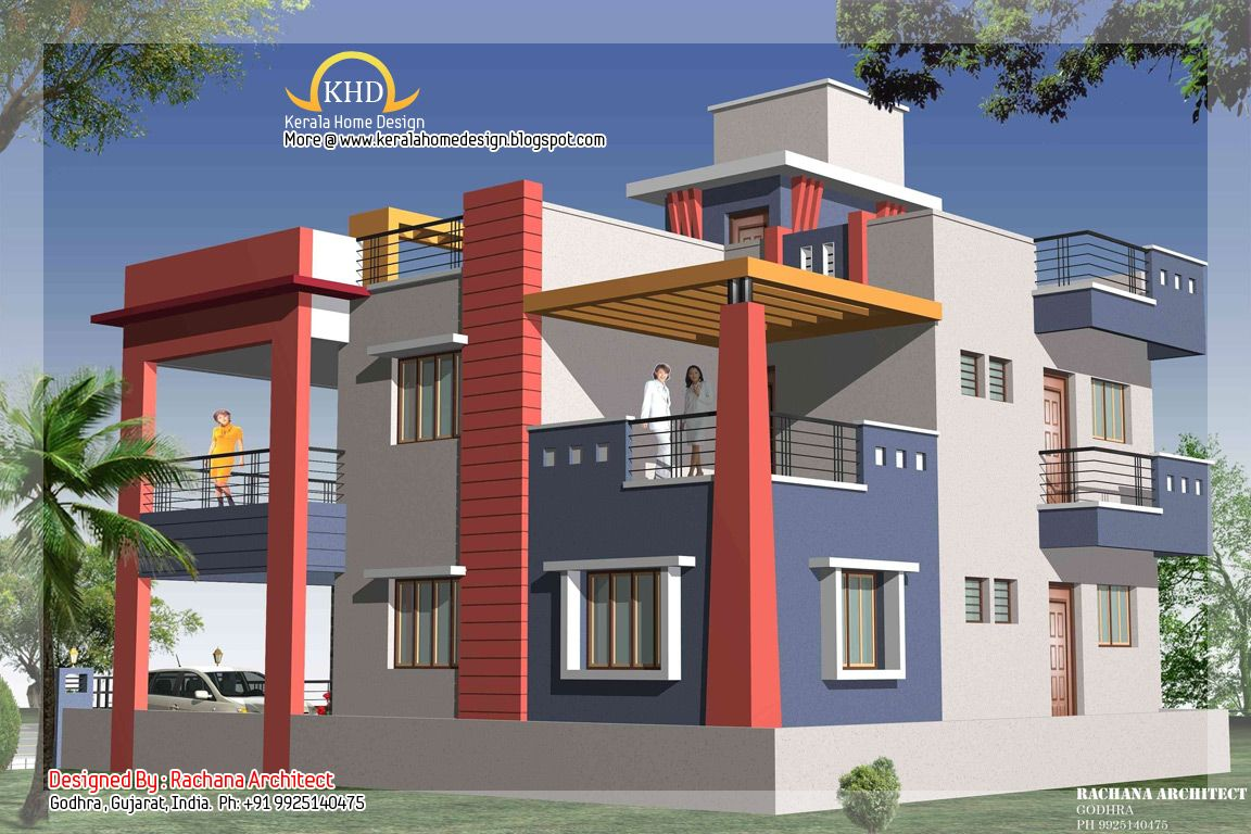 Duplex house plan and elevation view 3 218 sq m 2349 sq for Duplex images india