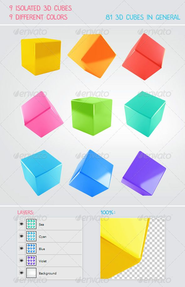 9 3D Cubes with 9 Colors