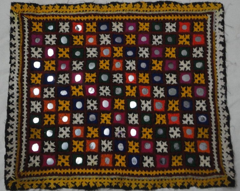 Indian Wall Decor indian ethinic vintage kutchi mirror work embroidered picture