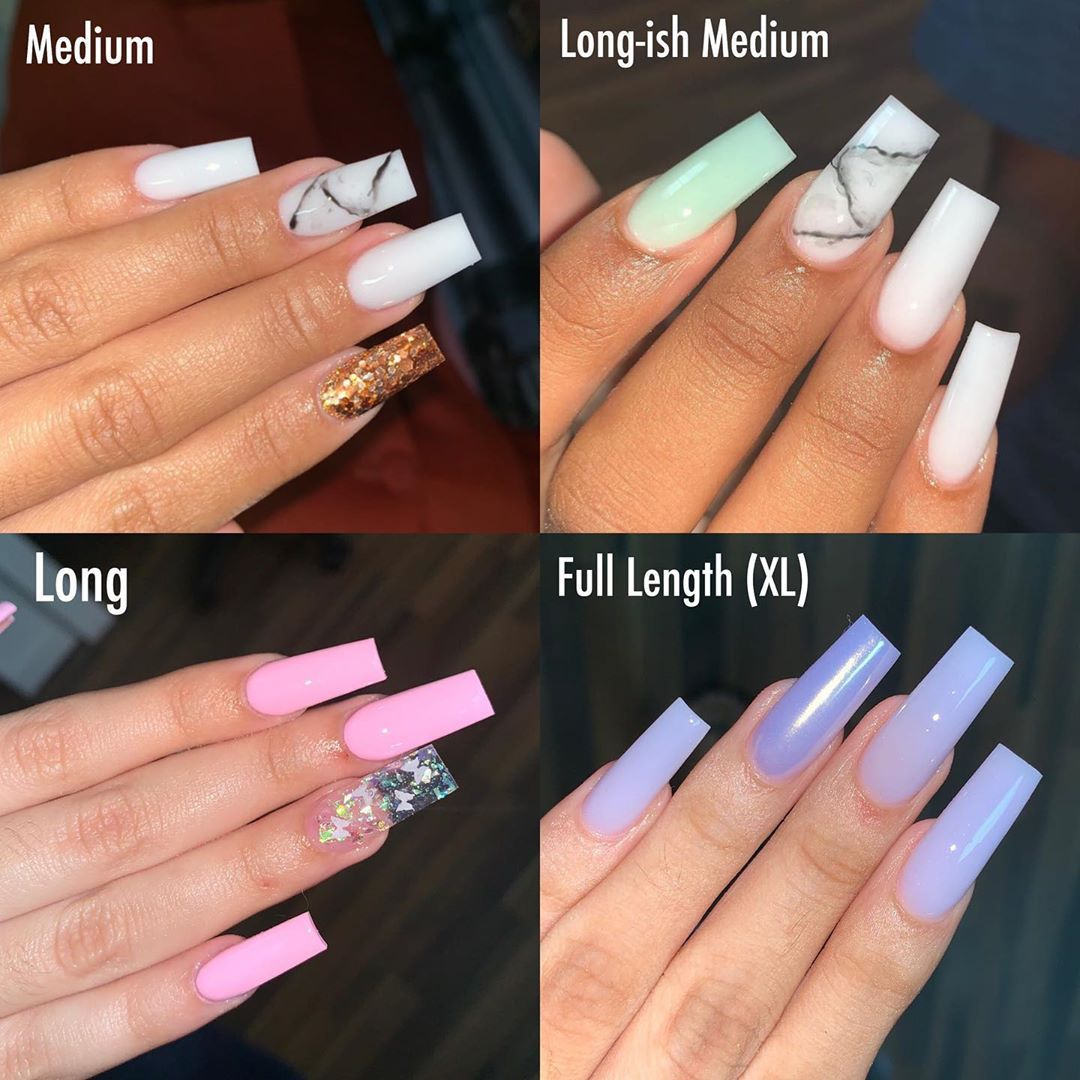 Jhohannails On Instagram Length Chart For Reference On How I Do Certain Lengths Medium Is The Shorte Long Acrylic Nails Coffin Nail Length Nail Length Chart