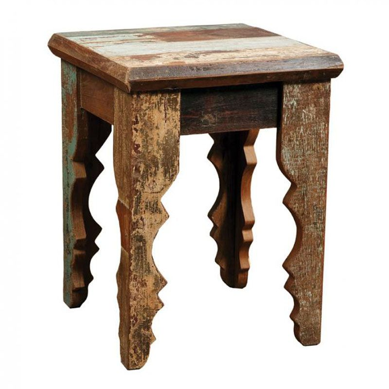 This Side Table Is Handcrafted In India From Vintage Reclaimed Wood. Each  Piece Is Unique