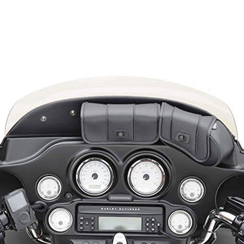 Saddlemen Cruis'n 3-Pocket Windshield Bag for 1997-2013 Harley-Davidson Electra Glide Street Glide models – HC-08-0015  You are buying a new Saddlemen Cruis'n Deluxe 3-Pocket Windshield Bag.   This distinctively styled windshield bag features large opening flaps for easy access to contents – keep your sunglasses or camera at your fingertips. Leather-grained UV- and weather-resistant SaddleHyde bag has over 151 cu. in. of cargo capacity in three independent pockets. Superbly construct..