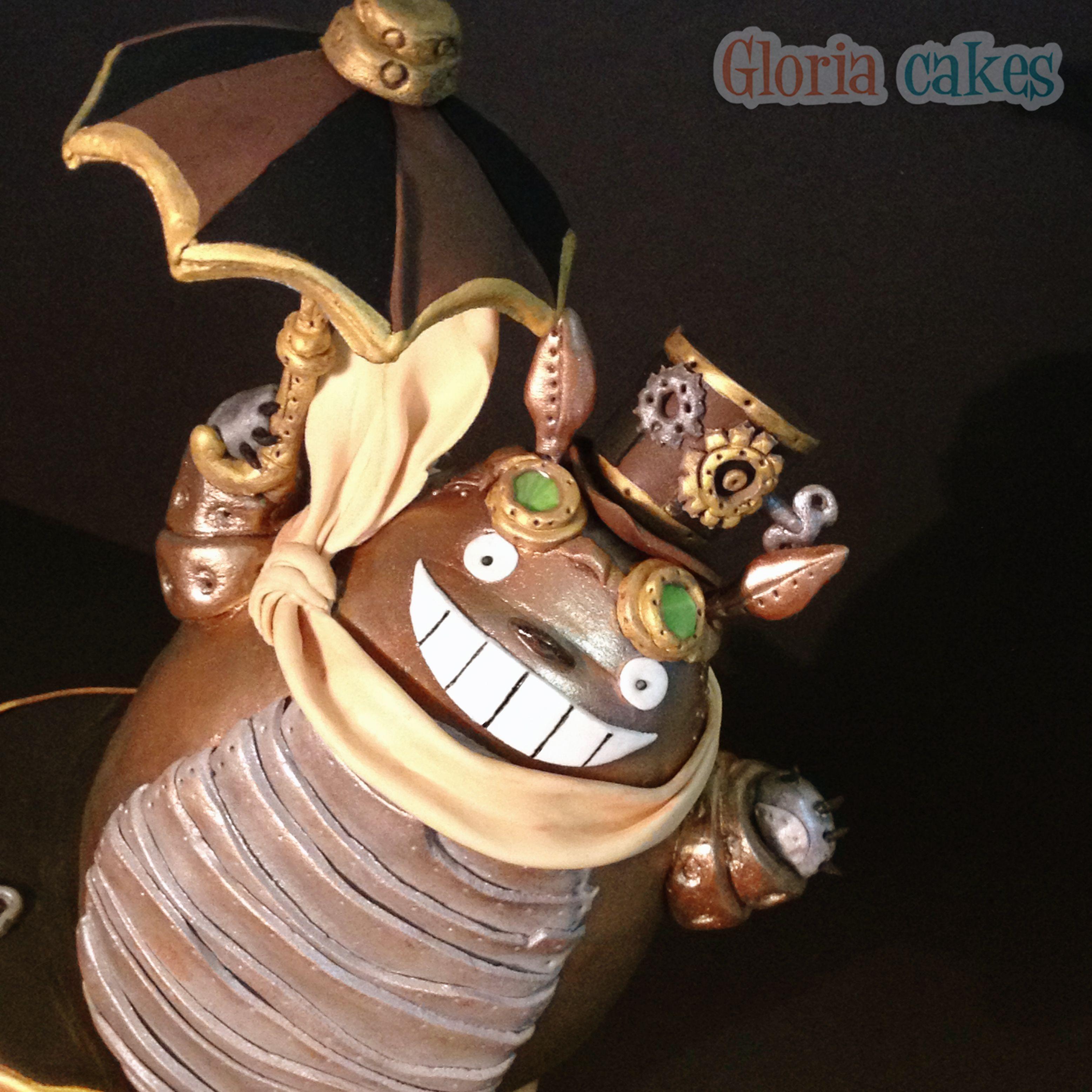 Steampunk Totoro Cake www.facebook.com/GloriaCakes www.GloriaCakes.com