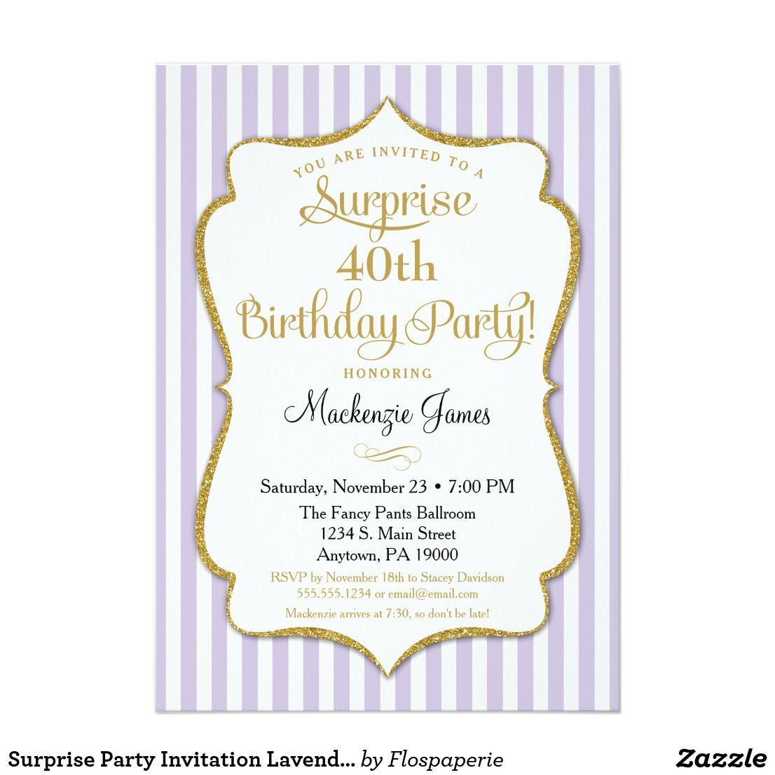 Surprise Party Invitation Lavender Lilac Gold | Surprise party ...