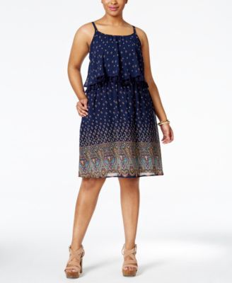 Eyeshadow Plus Size Printed Flounced Fit & Flare Dress | macys.com