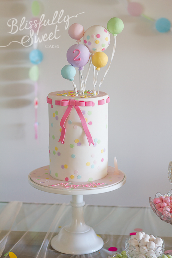 Confetti Balloons Birthday Cake By Blissfully Sweet Toddler