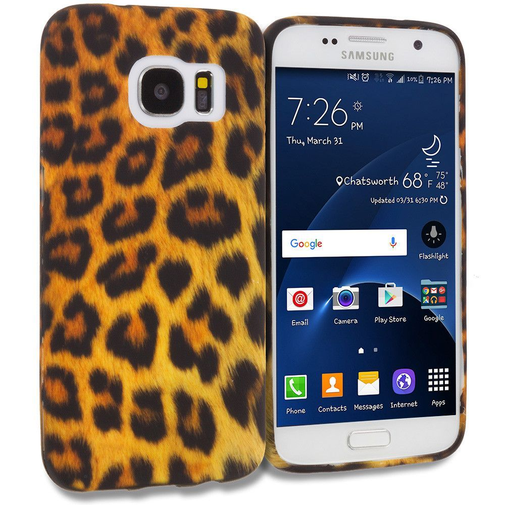 Black Leopard on Golden TPU Design Rubber Skin Case Cover for Samsung Galaxy S7 Edge