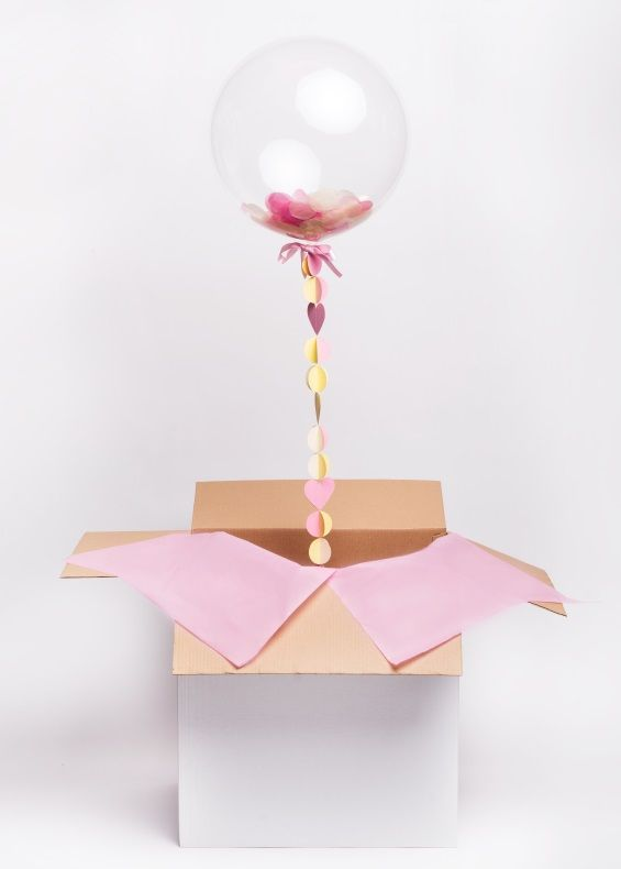 Hippenings Send A Gift Confetti Bubble Balloon In Box Birthday Surprise
