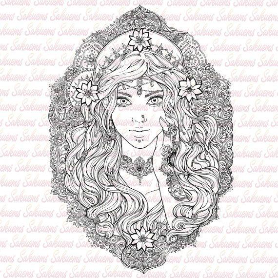 DIGITAL STAMP Beautiful gypsy portrait. Esmeralda / Indian