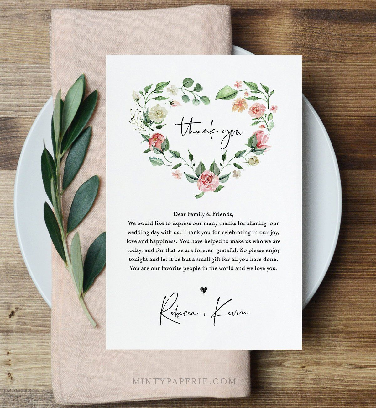 Wedding Thank You Letter, In Lieu of Favor Card Template, Napkin Note, INSTANT DOWNLOAD, 100% Editable Text, Floral Wreath, DIY #058-111TYN -  Just how to Have the Bride Bouquet and Lick Boutonniere Harmony? When looking for bridal bouquet designs, you must first choose whether to select live bridal plants or synthetic flowers. Therefore, how should the equilibrium of a live or synthetic bridal arrangement and groom boutonniere be achieved? You need to use a miniature of the bridal bouquet or d