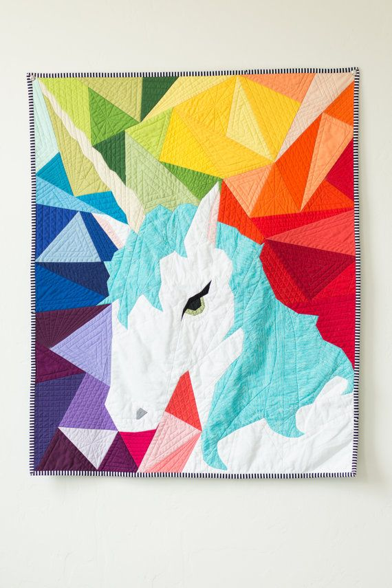 Maybe the Unicorn - Paper Piecing Quilt Pattern (Geometric ...
