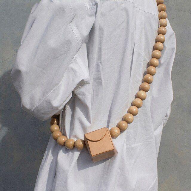 SHENGPALAE Spring Summer Woman Stylish Personality Khaki Black Color Single Round Breaded Straps Messenger Bag LI623 Color Black
