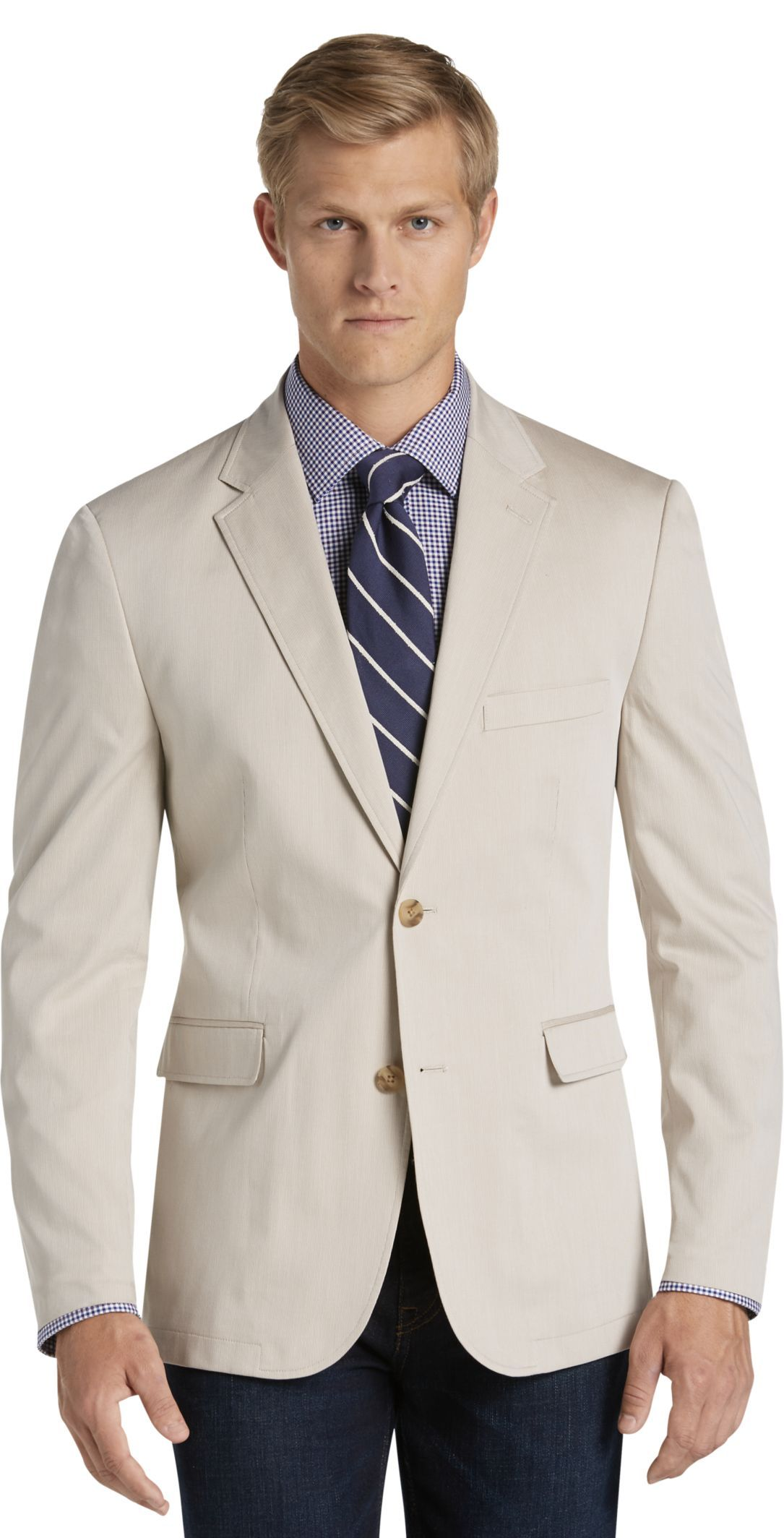 Reserve Collection Traditional Fit Stripe Soft Jacket