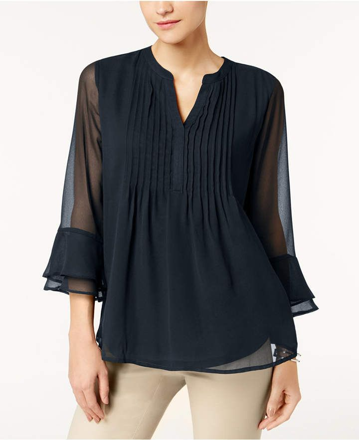 Charter Club Pleated Sheer Blouse Created For Macy S Womensfashion