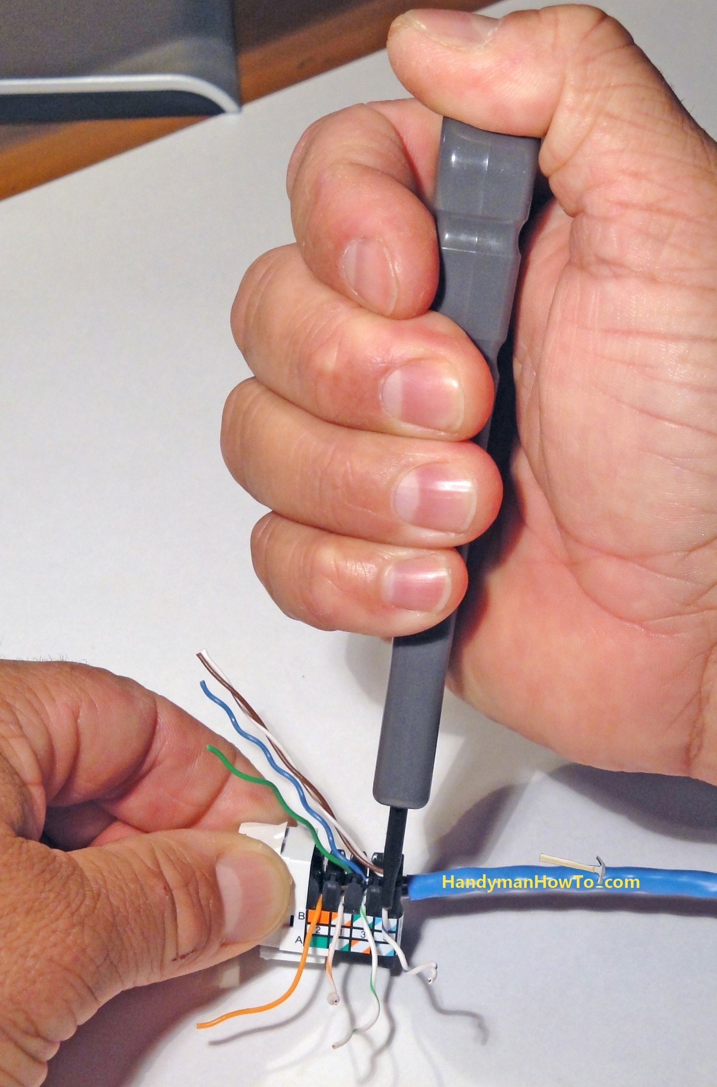 Punching Down Cat 5e Wires Onto The Ethernet Jack