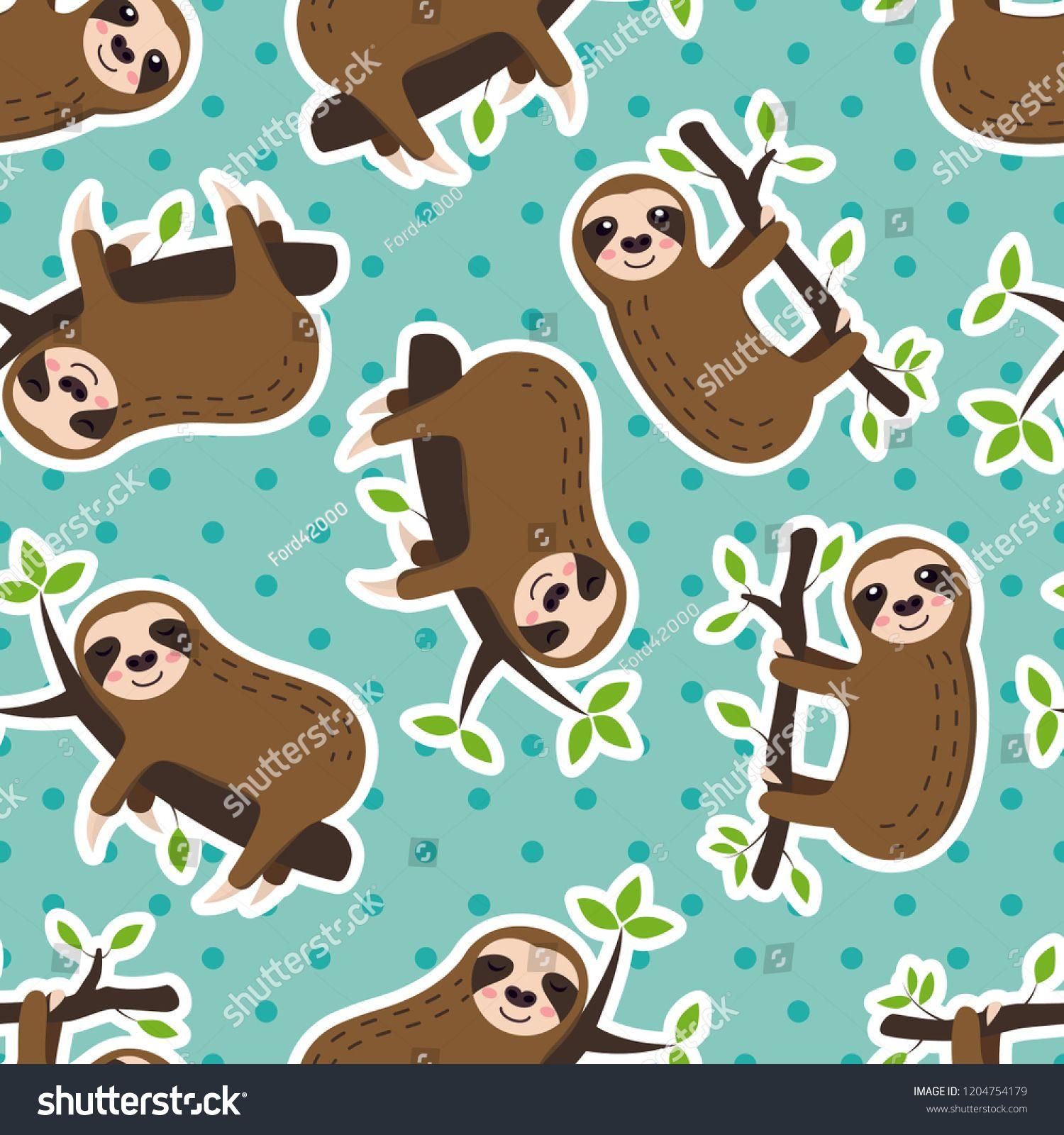 seamless sleeping sloth and polka dots vector pattern