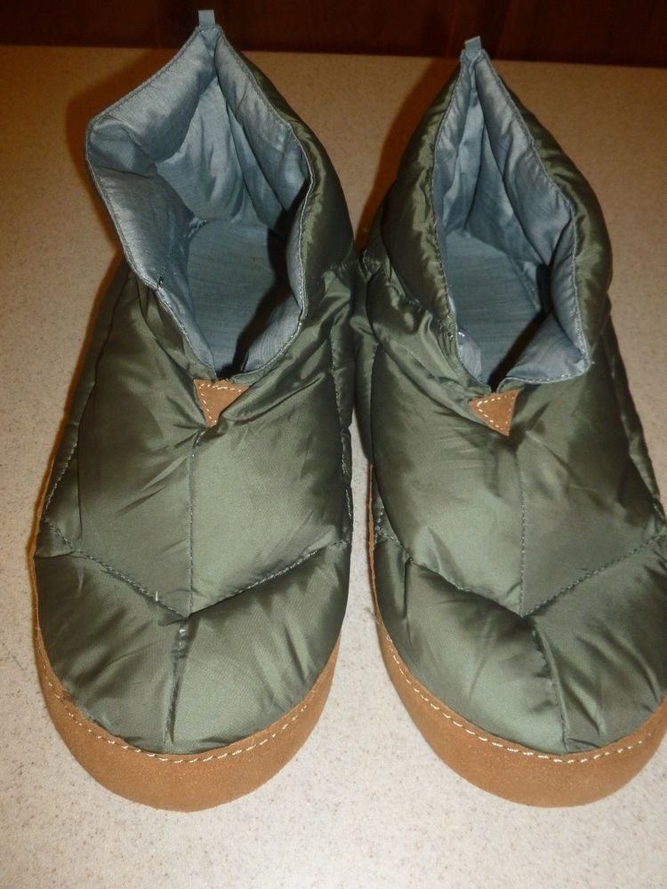 l l bean goose down booties house slippers green leather sole sz 11