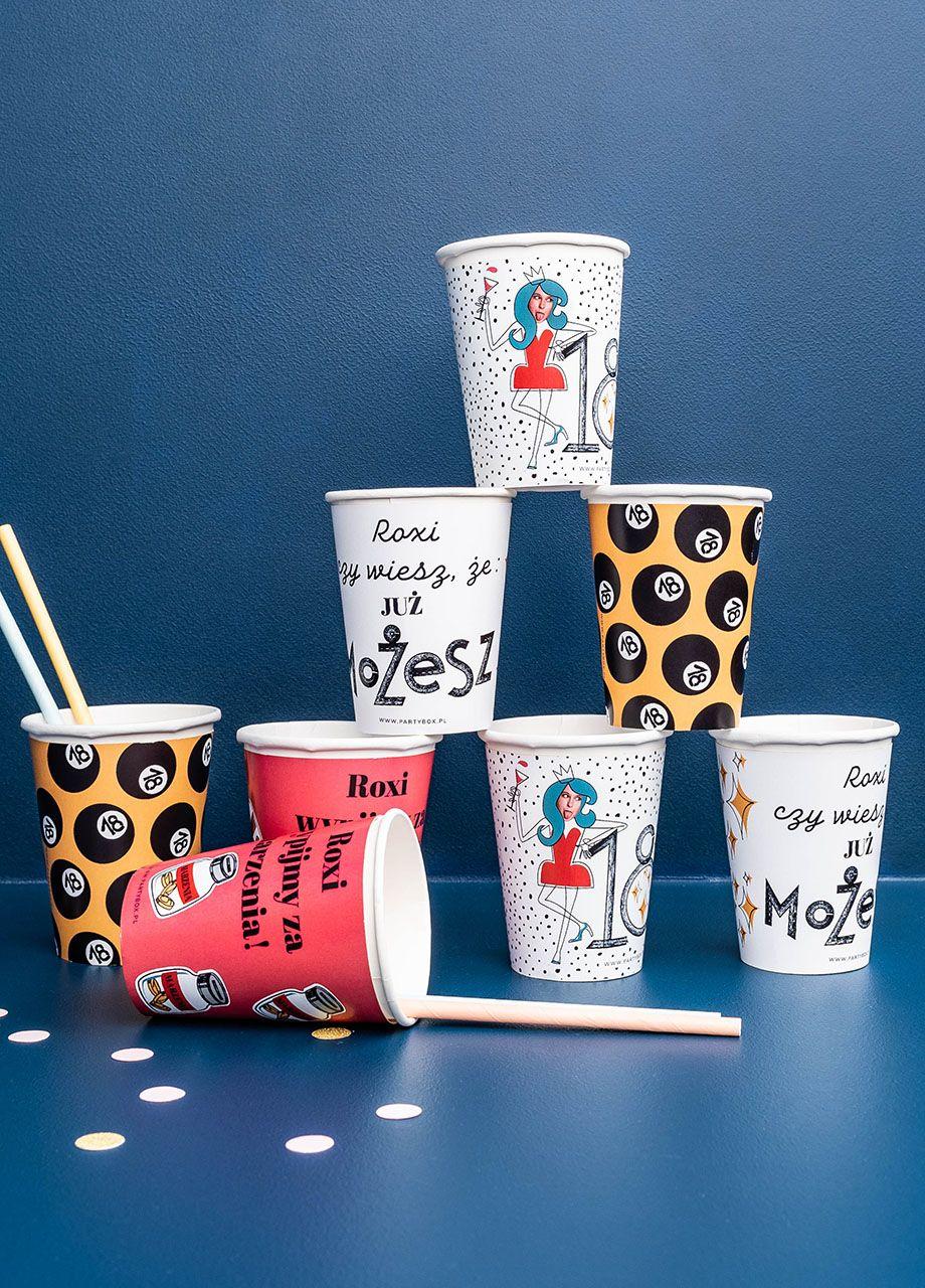 Kubeczki Personalizowane 18 Urodziny Roxi 8szt Glassware Tableware Mugs
