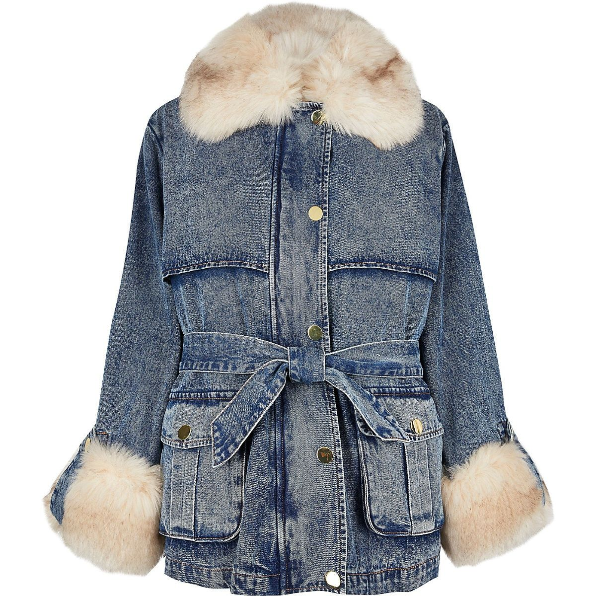 Blue Faux Fur Collar Padded Denim Jacket River Island Denim Jacket Winter Coats Women Jackets [ 1200 x 1200 Pixel ]