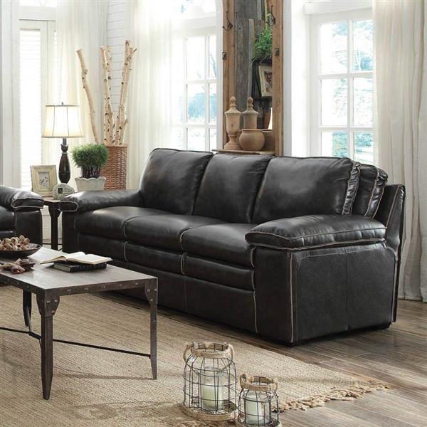 Regalvale Charcoal Faux Leather Pillow Top Arms