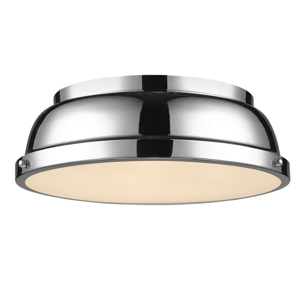 Golden Lighting Duncan Chrome With Shade 14 Inch Flush Mount Light Fixture Silver Steel