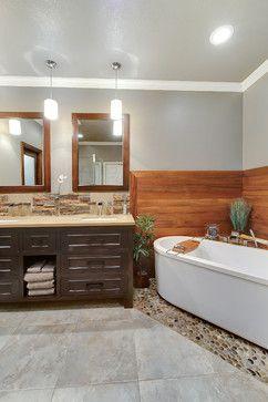 pebbled floor tub area   stone tile bathroom, river rock