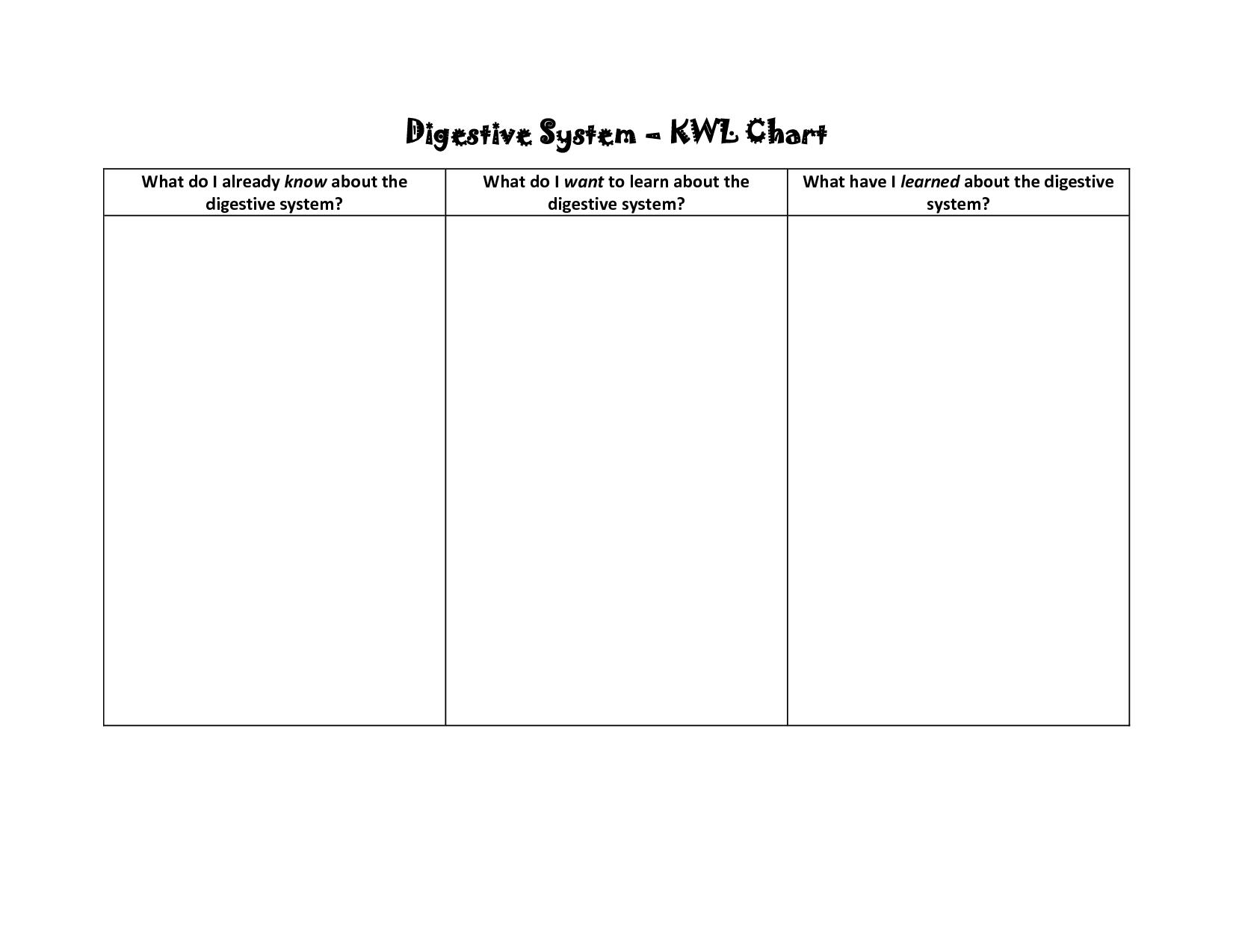 Blank Flow Chart Worksheet Digestive System Kwl Chartwhat Do I