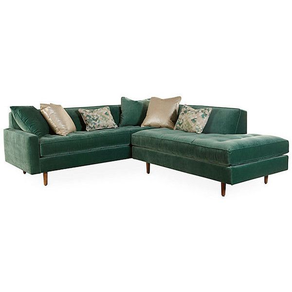 Brady Sectional Forest Green Velvet Sectionals 2055 liked on