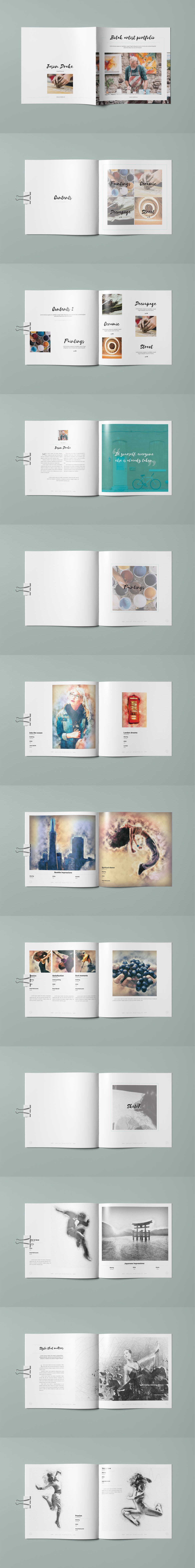 Botak Artist Portfolio Brochure Template InDesign INDD | Brochure ...