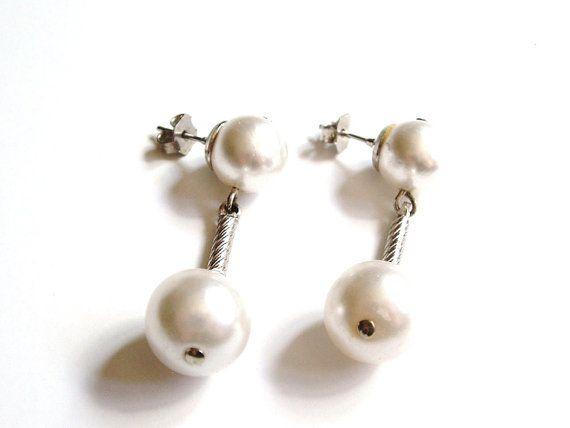 White Pearl Earrings Dangle By Prettyshinythings4u 14 00