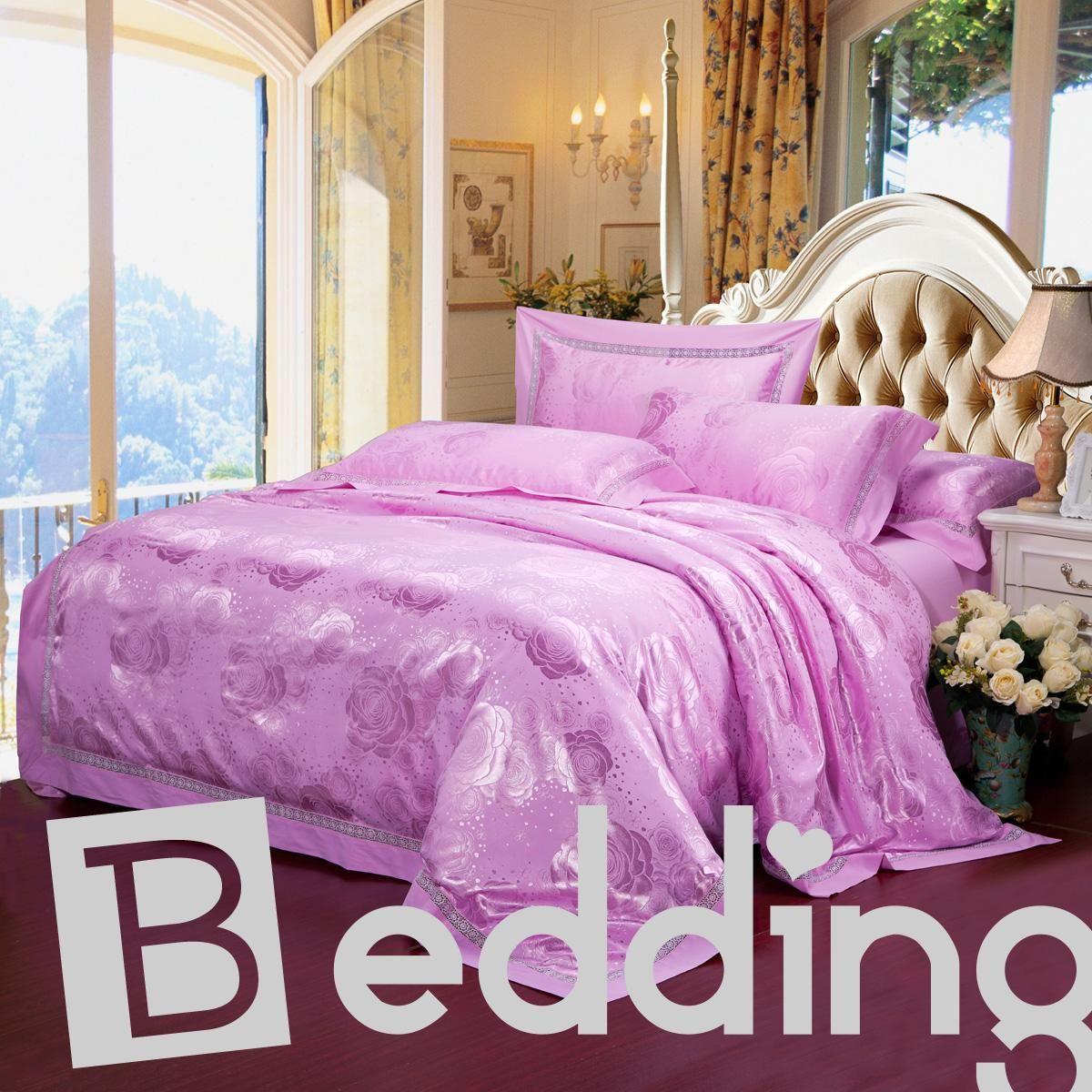 Luxurious Light Purple Floral Jacquard Drill 4 Piece Bedding Sets