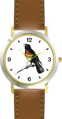 Blackbird Bird Animal - WATCHBUDDY® DELUXE TWO-TONE THEME WATCH - Arabic Numbers - Brown Leather Strap-Size-Children's Size-Small ( Boy's Size & Girl's Size ) WatchBuddy. $49.95