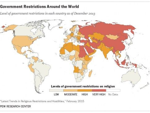 Pew Report Details The Sorry State Of Religious Tolerance In The - Religion map of the world 2013