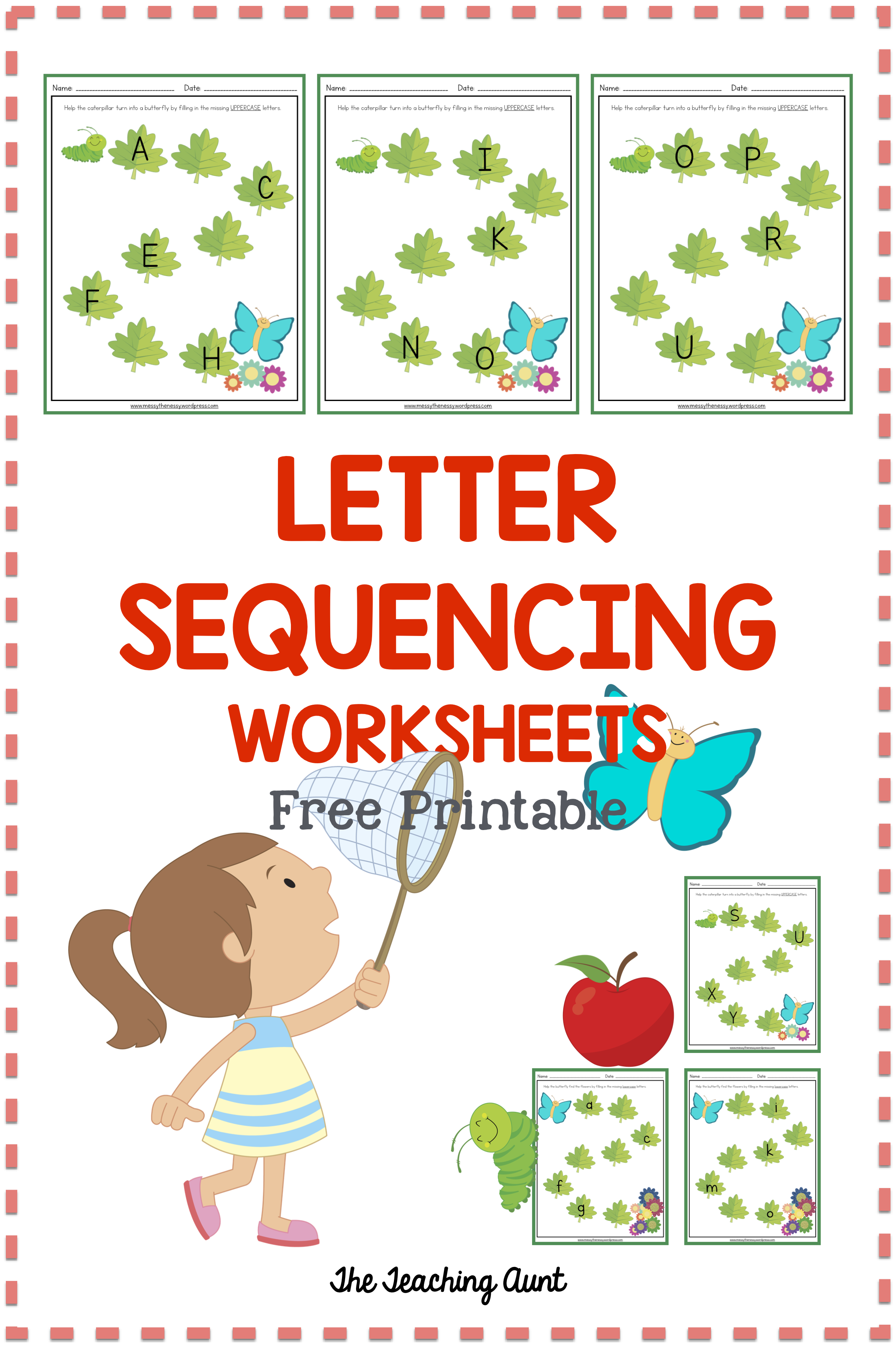 Butterfly Themed Letter Sequencing Worksheets