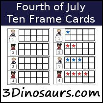 Fourth Of July Ten Frame Printables  DinosaursCom  Math
