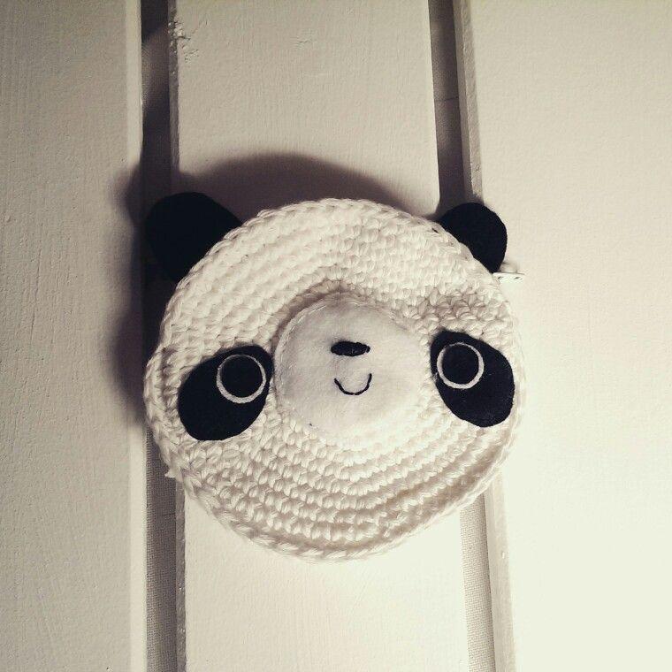 Monedero osito panda. Hecho a mano a crochet con hilo de algodón y ...