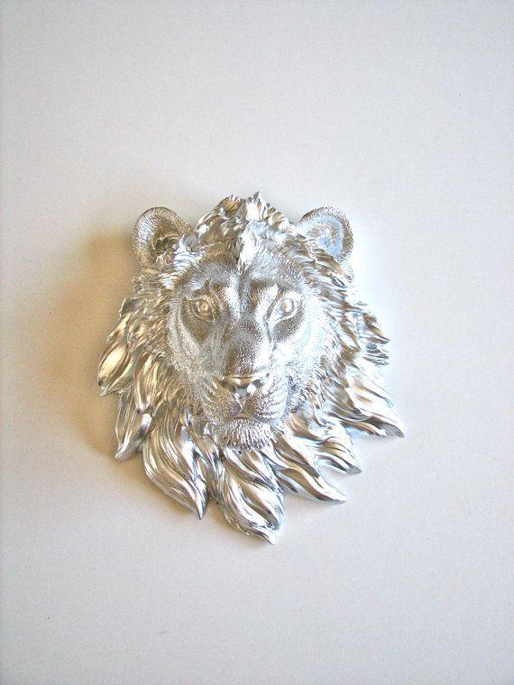 Faux Taxidermy Small Lion Head Wall Decor Leonard by mahzerandvee, $30.00