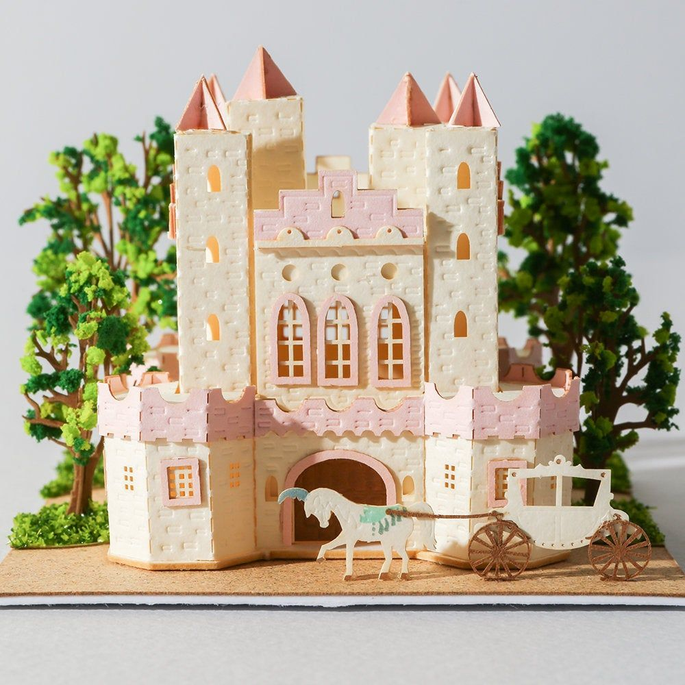 Papercraft princess castle carriage 3d building model diy kit miniature house paper sculpture